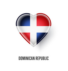 heart symbol with dominican republic flag vector image vector image