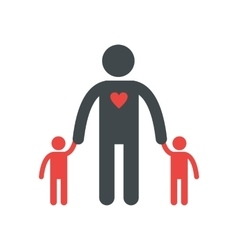 Man with two children silhouette flat icon vector image