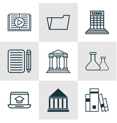 set of 9 school icons includes academy home work vector image vector image