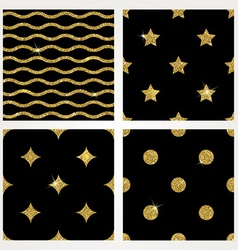 Set of glitter gold seamless background vector image vector image