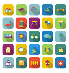 village color icons with long shadow vector image vector image