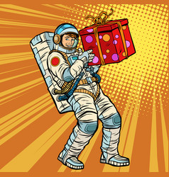 Astronaut birthday with a gift vector