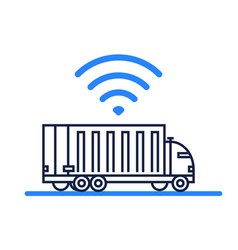 Autonomous self-driving truck icon on white vector