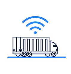 Autonomous self-driving truck icon on white vector