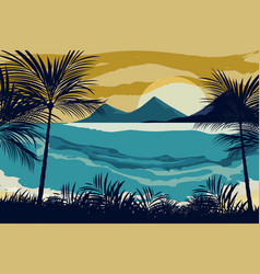 Beach on the evening vector