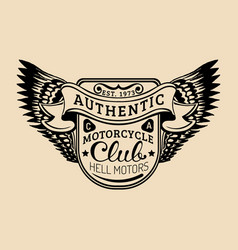 Biker logo with wings mc sign vector