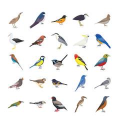 Birds flat icons set vector