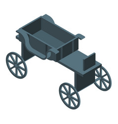 Black horse carriage icon isometric style vector
