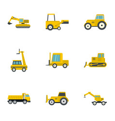 building machine icon set flat style vector image