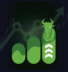 bullish symbols on stock market vector image