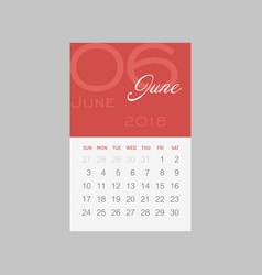 calendar 2018 months june week starts sunday vector image