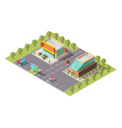 car dealer showroom buildings isometric vector image