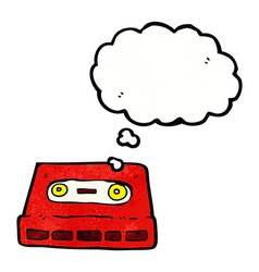 cartoon cassette tape with thought bubble vector image