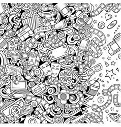 cartoon cute doodles cinema frame design vector image