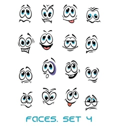 Cartoon faces set with many emotions vector