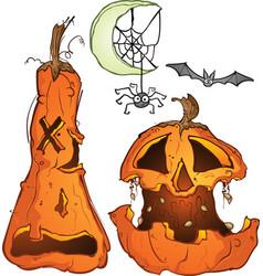 Carved pumpkin jackolanterns with spider and bat vector
