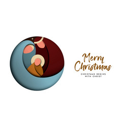 christmas paper cut card for christian celebration vector image