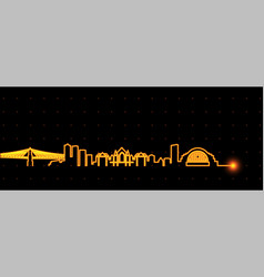 cincinnati light streak skyline vector image
