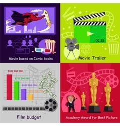 Cinema Set Banners Film Movie Design vector image