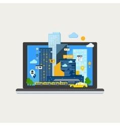 City Landscape in Laptop vector image
