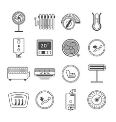 Climate control line art icon set vector