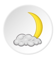 Cloud and crescent moon icon cartoon style vector image