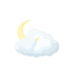 Cloud and moon icon cartoon style vector