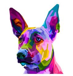 colorful belgian malinois dog isolated on pop art vector image