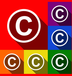 Copyright sign set of icons vector
