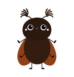 Cute beetle bug insect animal cartoon kawaii vector