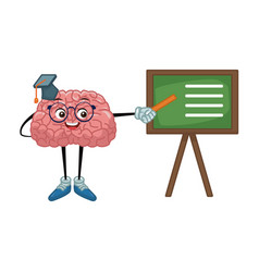 Cute brain teaching cartoon vector