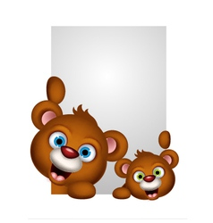 cute couple brown bear cartoon vector image