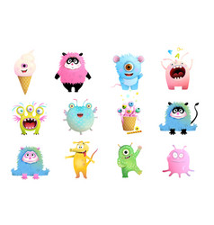 Cute monsters characters collection for kids vector