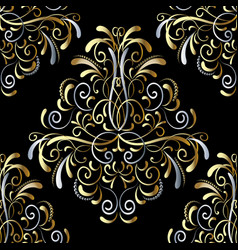 damask seamless pattern floral background vector image