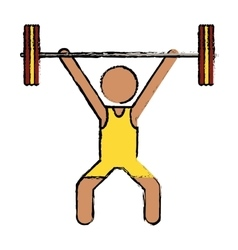 Drawing man weight lifter sport athlete vector