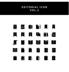 Editorial glyph style icon set vol2 vector