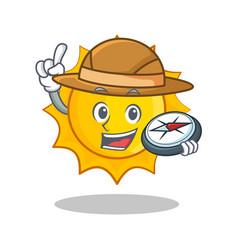 Explorer cute sun character cartoon vector