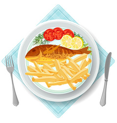 Fish and chips served with vegetables vector