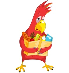 Funny Parrot Shopping vector image