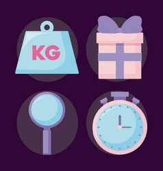 gift box present with set icons vector image