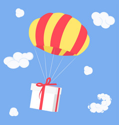 gift is flying on parachute delivery coming from vector image