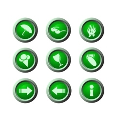 Green rounded icons vector
