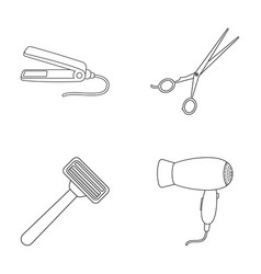 hair dryer hair straightener razor hairdresser vector image