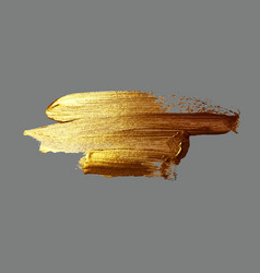 Hand drawing gold brush stroke paint vector