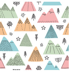 Hand drawn seamless pattern with trees stars and vector