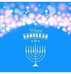 Hanukkah background with menorah and lights vector