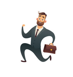happy businessman in suit with suitcase and runs vector image