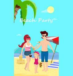 happy family at beach party day time banner flyer vector image