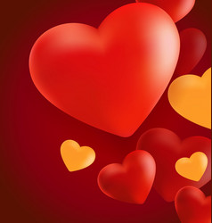 Hearts in red background2 vector