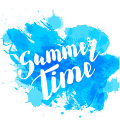 hello summer blue colored hand lettering vector image